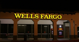wells fargo - wall sign